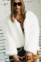 Collarless  Imitation Fox Fur Coat