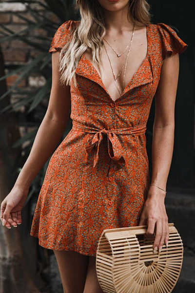 Deep V Neck  Single Breasted  Belt  Printed  Short Sleeve Casual Dresses