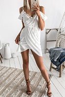 Spaghetti Strap  Asymmetric Hem  Belt  Plain  Short Sleeve Casual Dresses