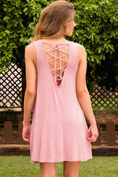 Cross Straps Plain Sleeveless Casual Dresses