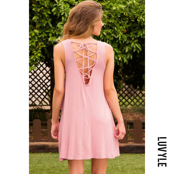 Pink Cross Straps Plain Sleeveless Casual Dresses Pink Cross Straps Plain Sleeveless Casual Dresses