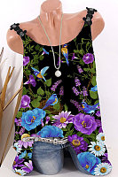 Floral Print Sleeveless T-shirt