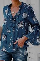 Lace-up collar print T-shirt