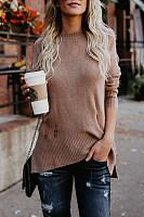 Broken Holes Side Slit  Plain Sweaters