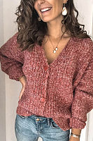 Women's solid color button knit cardigan BJ31