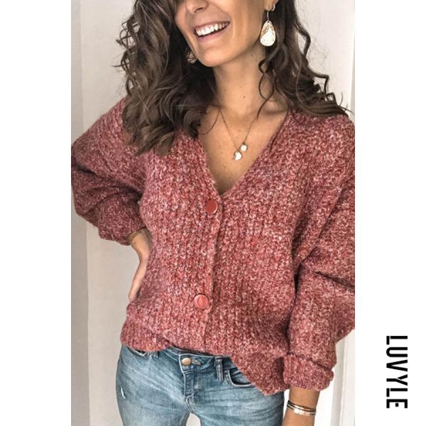 Women's solid color button knit cardigan BJ31