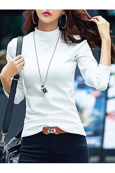 Band Collar Plain Long Sleeve T-Shirt