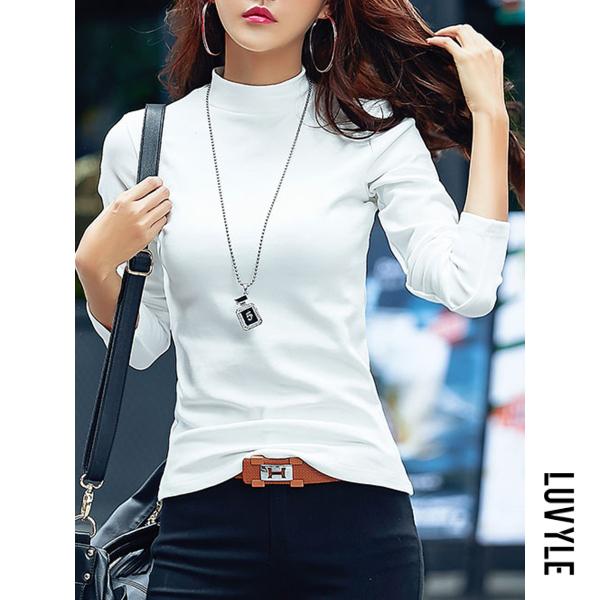 White Band Collar Plain Long Sleeve T-Shirt White Band Collar Plain Long Sleeve T-Shirt