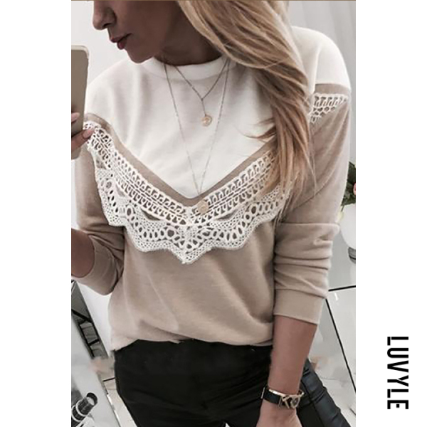 Casual color matching ladies lace top - from $21.00