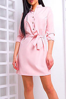 Band Collar  Belt  Plain  Three Quarter Sleeve Bodycon Dresses