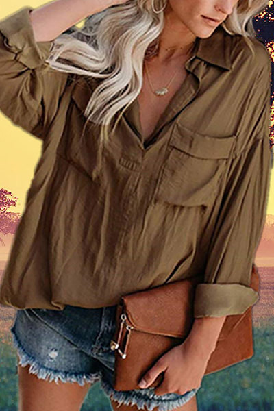 V-Neck Double Pocket Long-Sleeved Blouse