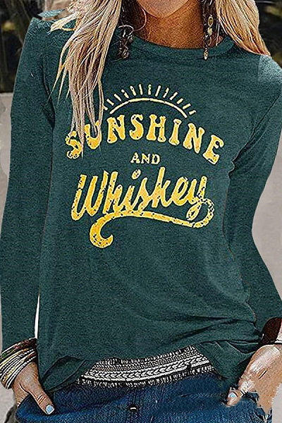 Fashion Casual Round Neck Long Sleeves Print T-Shirt