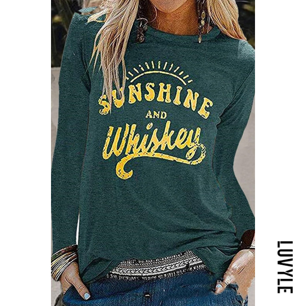 Green Fashion Casual Round Neck Long Sleeves Print T-Shirt Green Fashion Casual Round Neck Long Sleeves Print T-Shirt
