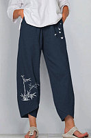 Casual Cotton And Butterfly Print Elastic Waist Pants