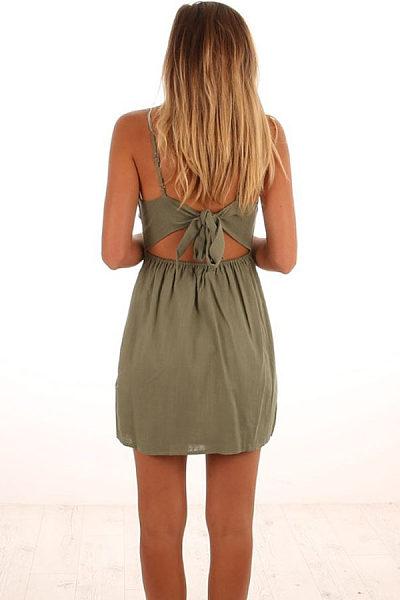 Spaghetti Strap  Backless Single Breasted  Plain  Sleeveless Casual Dresses