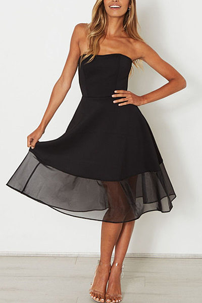 Strapless  Plain  Sleeveless Skater Dresses