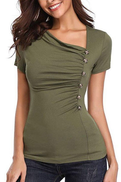 Pleated Single-Breasted Short-Sleeved T-Shirt
