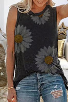 Casual Printed Sleeveless Tops