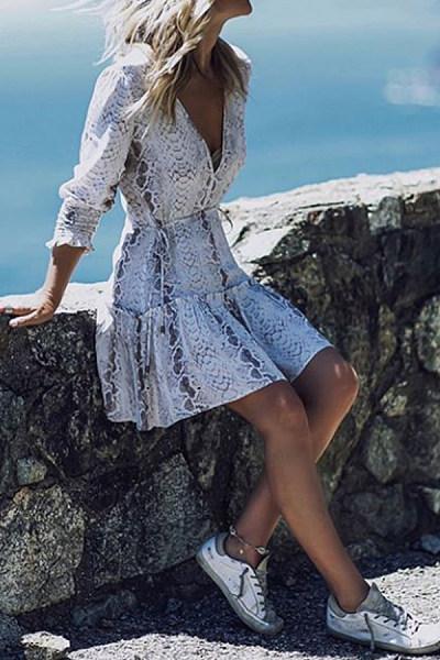 V Neck  Patchwork  Print  Long Sleeve Skater Dresses