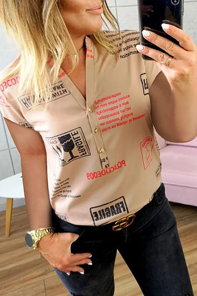 Fold Over Collar  Printed  Casual  Blouses