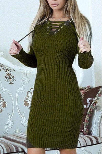 V Neck  Lace Up  Plain  Long Sleeve Sweater Bodycon Dresses