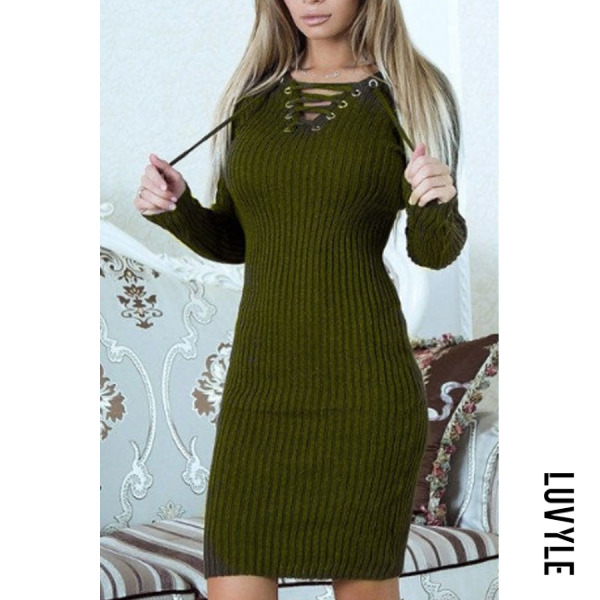 Green V Neck Lace Up Plain Long Sleeve Sweater Bodycon Dresses Green V Neck Lace Up Plain Long Sleeve Sweater Bodycon Dresses
