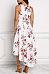 Deep V Neck  Asymmetric Hem  Belt  Floral Printed  Sleeveless Maxi Dresses