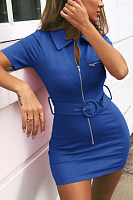 Fold Over Collar  Zipper  Plain  Short Sleeve Bodycon Dresses