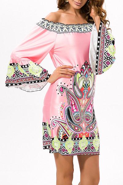 Pink Exotic Off Shoulder Printed Casual Dress