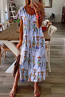 Round Neck Short Sleeve Printed Maxi Dress