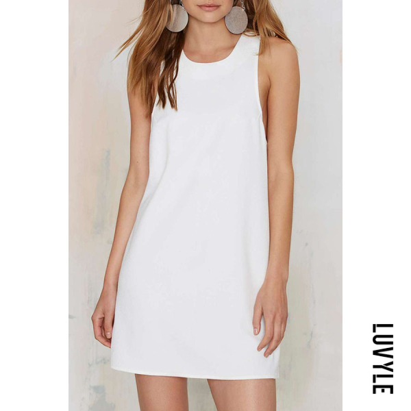 White Round Neck Cross Straps Plain Casual Dresses White Round Neck Cross Straps Plain Casual Dresses