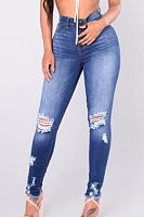 Basic Broken Holes  Plain  Jeans