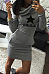 Hooded  Letters Star Bodycon Dresses