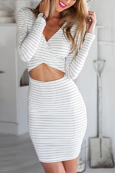 3e853493d20 V Neck Cutout Stripes Long Sleeve Bodycon Dresses - Luvyle.com