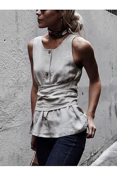 Elegant Round Neck Sleeveless Shirt Top