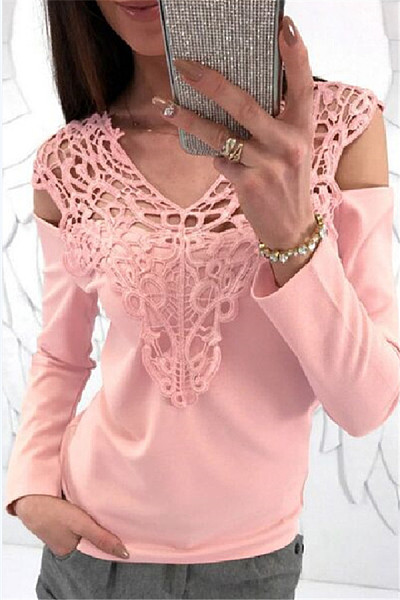 Casual V Neck Hollow Lace Long Sleeve T-shirt