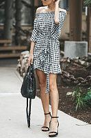 Off Shoulder  Belt  Gingham  Bell Sleeve  Casual Dresses
