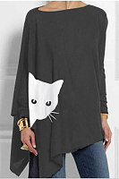 Round Neck Loose-Fitting Cat T-shirt