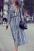 Fashion Lapel Striped Printed Belted Maxi Dress