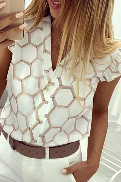 Casual V-Neck Printed Ruffled Shirt