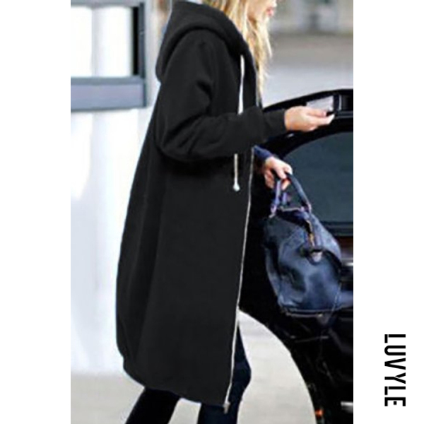 Black Fashion Long Sleeve Loose Hoodie Coat Black Fashion Long Sleeve Loose Hoodie Coat