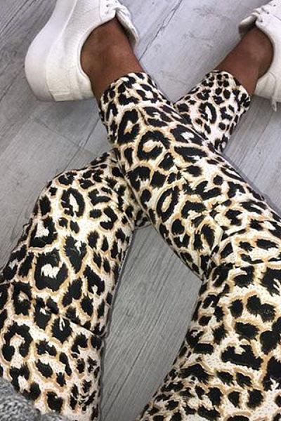 Leopard  Printed  Basic   Pants
