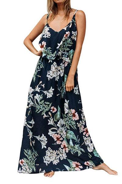 Spaghetti Strap  Floral Maxi Dresses