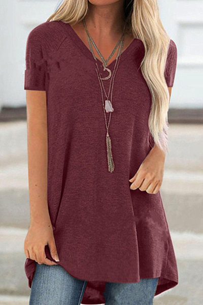 V Neck Plain Short Sleeve T-shirt