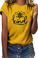 Bee Printed Round Neck Casual T-shirt