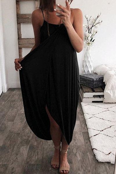 Round Neck Sleeveless Solid Dress