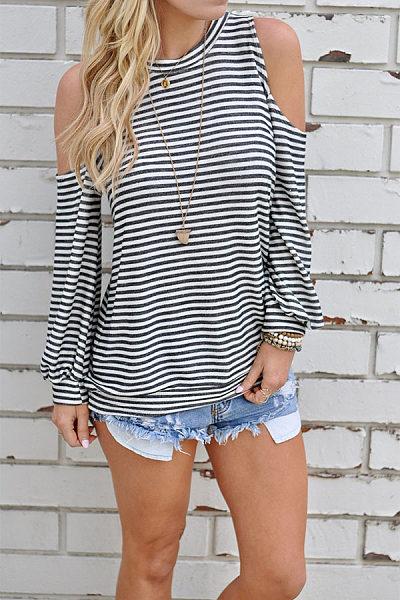 Round Neck  Cutout  Striped T-Shirts