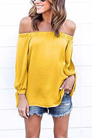 Chiffon Off Shoulder Bishop Sleeve Slit Shirt