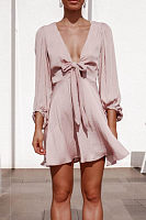 Stylish Casual Deep V-Neck Satin   V-Neck Dress