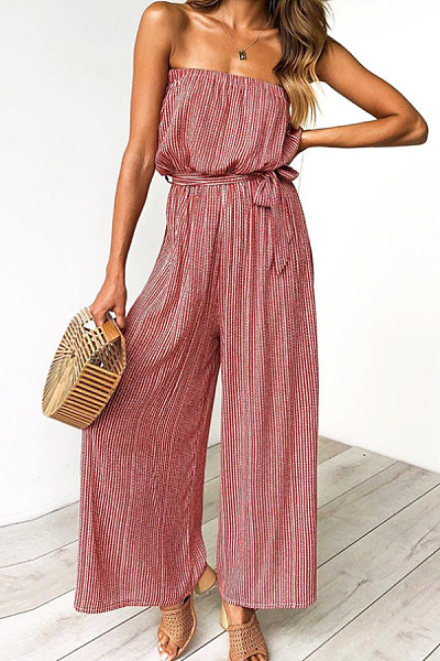 Off Shoulder  Backless  Striped  Sleeveless Jumpsuits